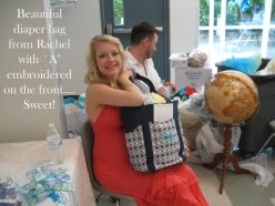 Diaper bag from Rachel to Ashley at shower 5-21-16