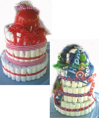 Diaper cakes Rachel and Scott made for 5-21-`6